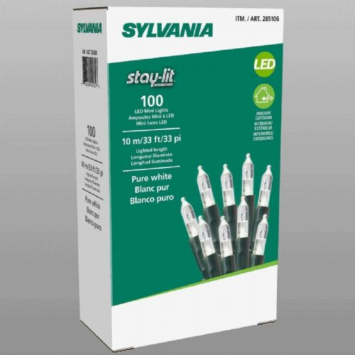 Sylvania Stay-lit 10m Pure White 100 LED Mini Lights Indoor/Outdoor Christmas